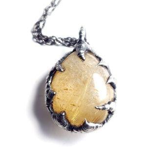 Gold rutilated quartz necklace